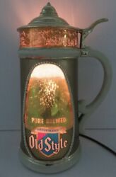 Rare Heilemans Old Style Bubbler Bubbling Beer Stein Light Motion Sign - 1960andrsquos