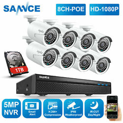 Sannce 5mp 8ch Nvr Poe 1080p Security Ip Camera System Audio Recording Home 1tb