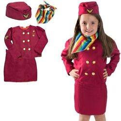 Cosplay Costumes Carnival Party Girl Stewardess Airline Service Uniform Kids Set