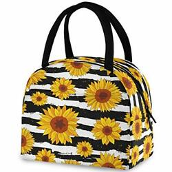 Zzwwr Stylish Sunflowers Stripes Pattern Reusable Lunch Tote Bag With Front P...