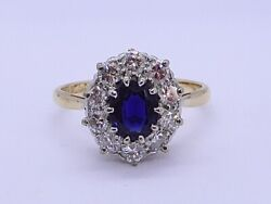 Top Quality Sapphire And 60 Points Vs1 Diamond Ring In 18k Yellow Gold Size N1/2
