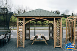 Wooden Square Gazebo 3.45mx3.45m Bbqtreatedoutdoor Gardensummer Housearched