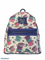Euc Disney Parks Loungefly Mad Tea Party Cups Alice In Wonderland Mini Backpack
