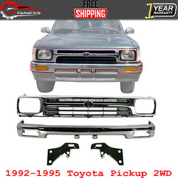 Front Bumper Chrome + Grille + Bracket Pairs For 1992-95 Toyota Pickup Truck 2wd
