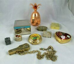 Lot Of 10 Metal Trinket / Pill Boxes Variety Of Styles And Sizes