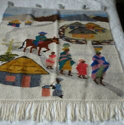 Vintage Lesotho South African Mohair Hand Woven Wall Art Hanging Tapestry Rug