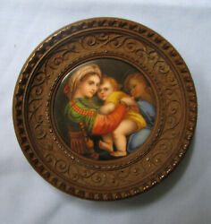 Antique Italian Hand Painted Porcelain Plaque Madonna And Child After Raphael