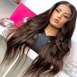 Chocolate Highlight Silk Top Wigs With Hairline 180density Glueless Lace Wigs