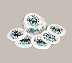Stone Coasters Marble Coaster With Holder Handmade Inlay Elephant Arts Gifts Her