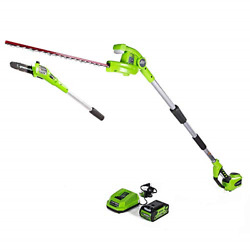Greenworks 40v 8-inch Cordless Pole Saw With Hedge Trimmer Attachment 2.0ah And