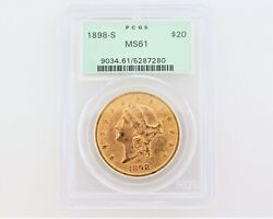 1898-s Ms61 Pcgs Liberty Double Eagle 20 Gold Coin
