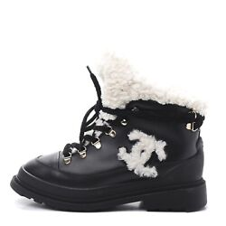 100 Authentic Nib Shearling Lace Up Combat Boots 38 Snow Boot Spikes