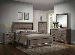 Antique Rustic Finish King Size 5pc Bedroom Set Bed Dresser Mirror Nightstand