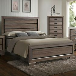 1pc Antique Brown Finish Queen Size Bed Contemporary Rustic Headboard Footboard