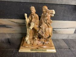 The Flight To Egypt By Munir Twemeh Olive Wood Hand Carved Statue Figure