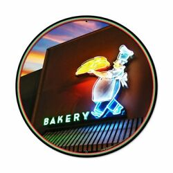 Retro Style Bakery Neon Themed New Metal Sign 28 Dia. Usa Steel