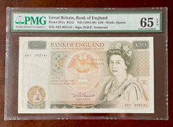 Great Britain Nd 1981-88 50 Pounds P 381a Pmg 65 Gem Unc Epq- First Prefix A01