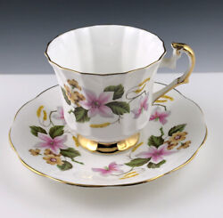 Vintage Elizabethan Fine Bone China Teacup And Saucer 2536 Pink And Yellow Flowers