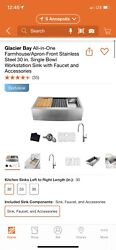 Glacier Bay All-in-one Farmhouse/apron-front Stainless Steal 30andrdquo Sink