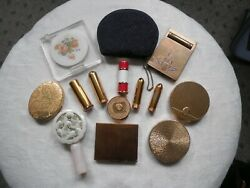 Lot Of 1940's-50's Vintage Compact Cases And Lipstick Tubes And Coin Purse