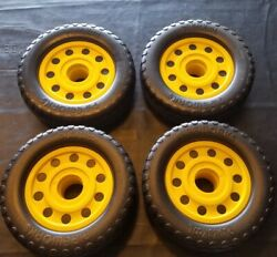 Lot Of 4 Authentic Playskool Pipeworks Tires Wheels Replacement Vintage Parts