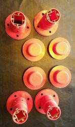 Lot Of 8 Playskool Pipeworks Red Axles And Caps Connector Fastener For Wheels