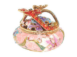 Pink Dragonfly And Butterfly Enamel Crystal Trinket Gift Figurine Box