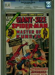 Giant Size Spider-man 2 Cgc 9.4 Near Mint White Pages Master Of Kung Fu 1974