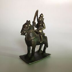 18th C Antique Brass Statue Or Figurine Of Horse With Ridder.