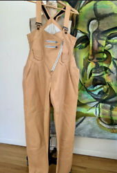 Women's Genuine Soft Leather Catsuit Jumpsuit Natural Taupe Leather Overalls