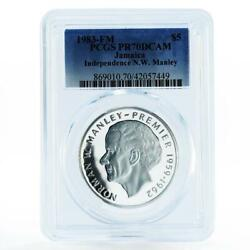 Jamaica 5 Dollars N.w. Manley - Independence Pr70 Pcgs Proof Silver Coin 1983