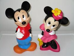Lot Of 2 Disney Piggy Banks Illco Mickey And Minnie Mouse Vintage Read Description