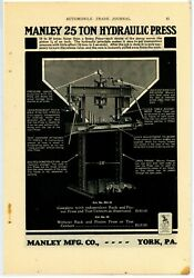 1928 Manley Mfg Co. Ad 25 Ton Hydraulic Press Pictured W/ Features - York, Pa