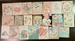 Lot Of 65 Vintage 1940's 1950's Welcome Baby Greeting Cards Shower Gift Used