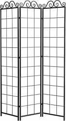 3 Panel Black Metal Wire Trellis Divider Screen Hanging Planters Not Included