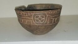 Solid Ripley Engraved Bowl Ancient Native American Caddo Indian Pottery W/coa