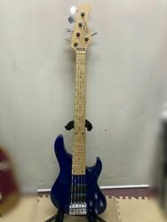 Crews Maniac Sound Be Bottom '24 Blue 5 Strings Electric Bass Guitar And Hard Case