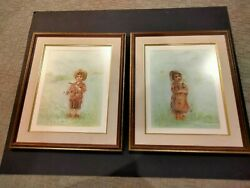 Edna Hibel Elusive Serigraph Set Boy And Girl In Field S/n Ed 290 Only 1 Of 45