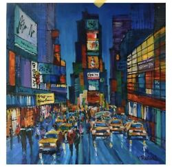 Yana Rafael Time Square Is Calling Hand Signed Original Painting With Coa