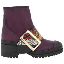 The Buckle Boot In Rubberised Leather And Snakeskin In Dark Claret