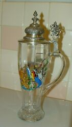 Vintage Bmf Glass Beer Stein With Zinn Lid Lion Made In West Germany 12 Tall