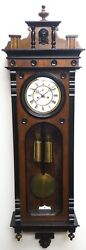 Antique Perfect Art Deco Musical Wall Clock 8-day Solid Oak Bevelled Glass 19th