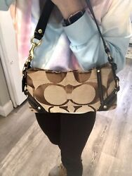 Coach Carly Signature Canvas Brown Leather Mini Baguette Hobo bag Pouch Purse $36.99