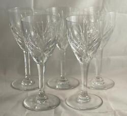 Set Of 5 St. Louis Crystal Chantilly Water Goblets Made In France