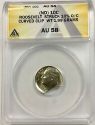 Nd Roosevelt Dime Struck 10 Off Center With A Curved Clip Error Anacs Au 58