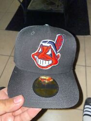 """Cleveland Indians New Era Fitted Hat """"chief Wahoo"""" Discontinued Rare Damaged 7"""