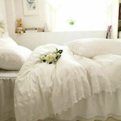Luxury Embroidery Bed Set White Lace Cake Layers Ruffle Duvet Cover Bed Sheet