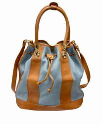 Valentina Leather Draw String Bucket Bag Handbag Purse Made in Italy Blue Tan $64.59