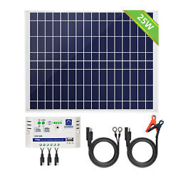 Eco 10w 25w 12v Solar Panel Kit Camping Trickle Car Boat Rv Trailer Maintainer