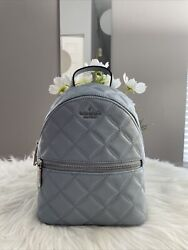 New Kate Spade NATALIA Mini Convertible Quilted Backpack Leather Frosted Blue $139.99